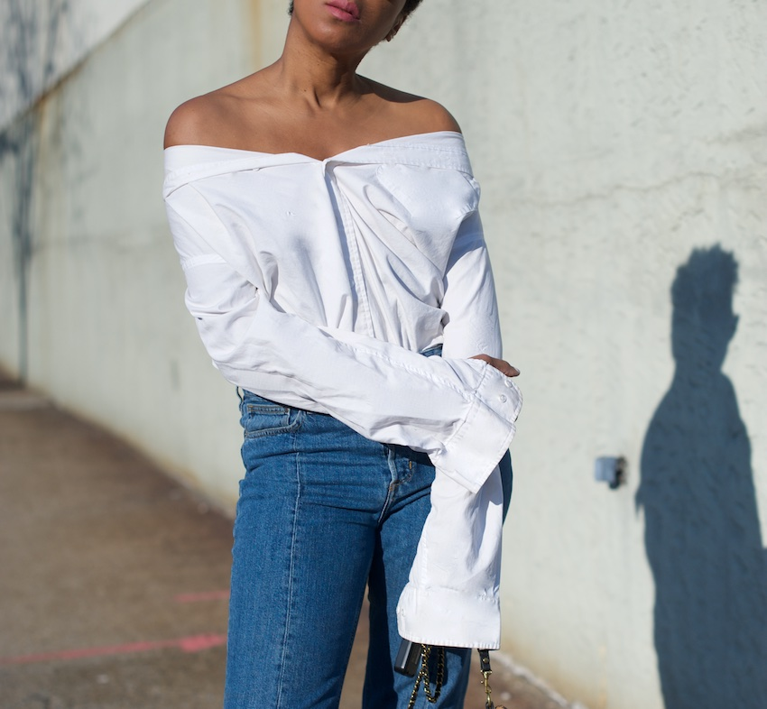 off the shoulder shirt blouse