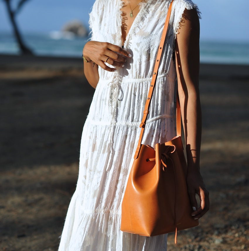 karen blanchard wearing the mansur gavirel bucket bag