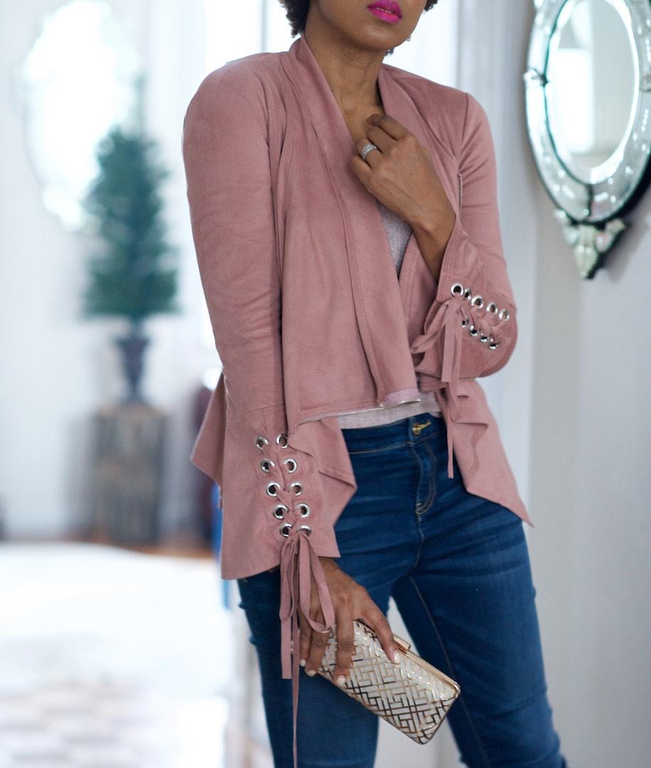 pink suede jacket