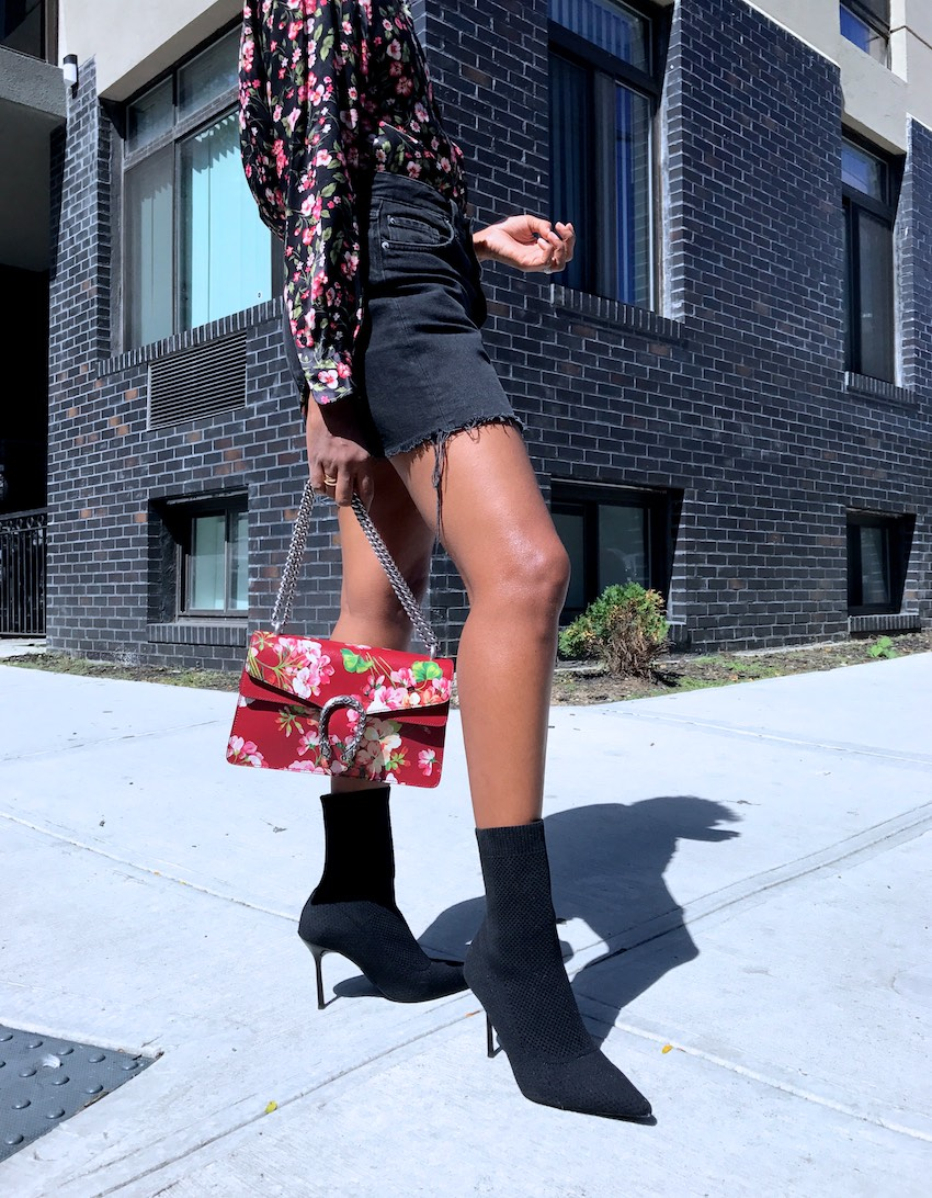 pointy sock boots and Gucci blooms dionysus bag