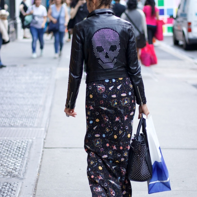black leather studded jackets with floral print maxi skirts