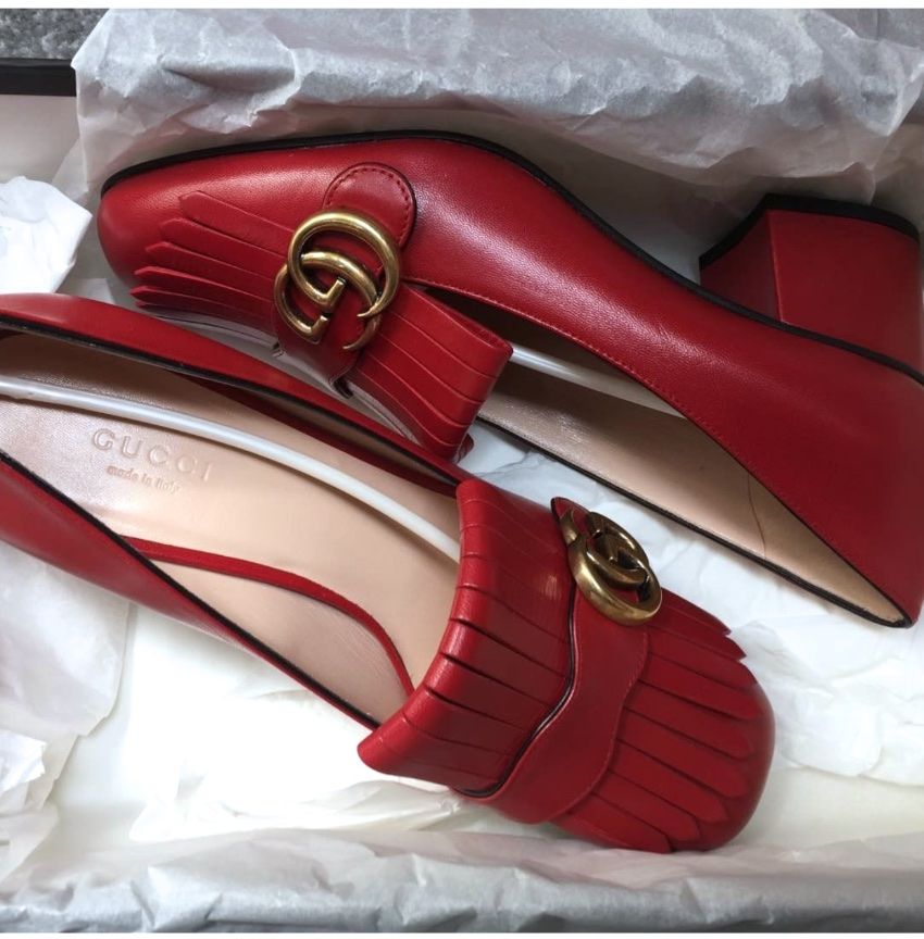 Gucci Marmont red block heel shoes