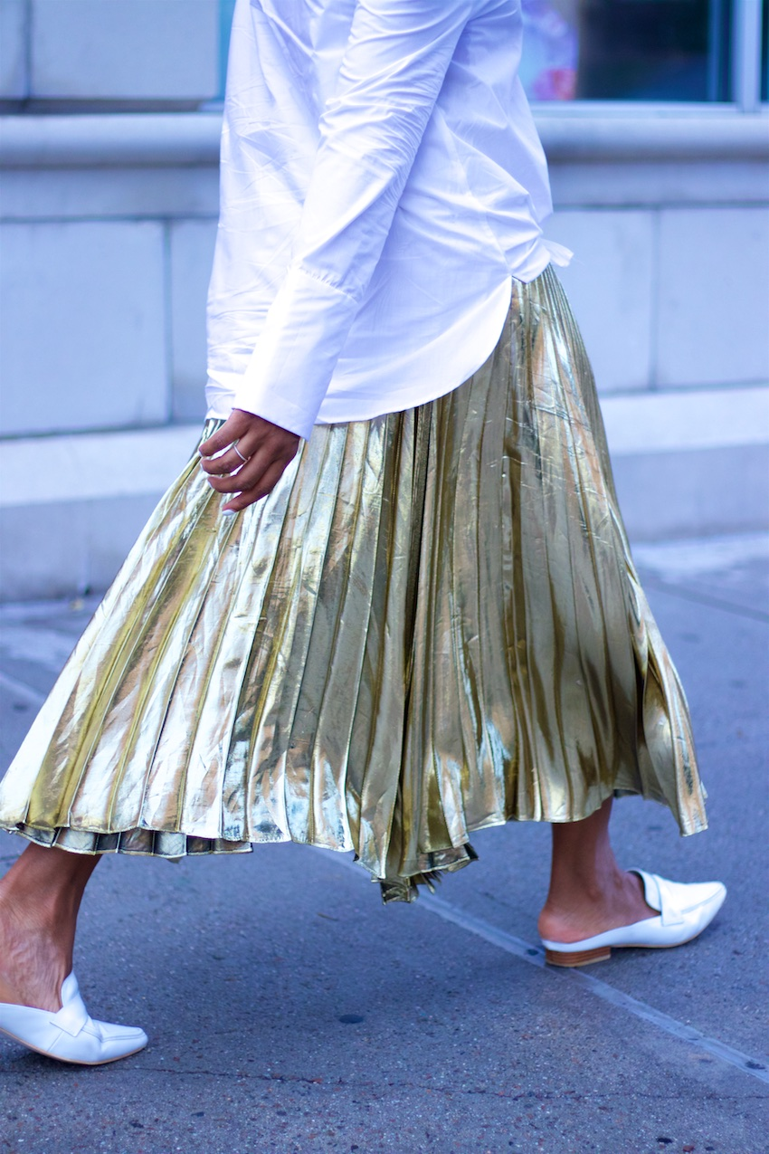 metallic gold skirts