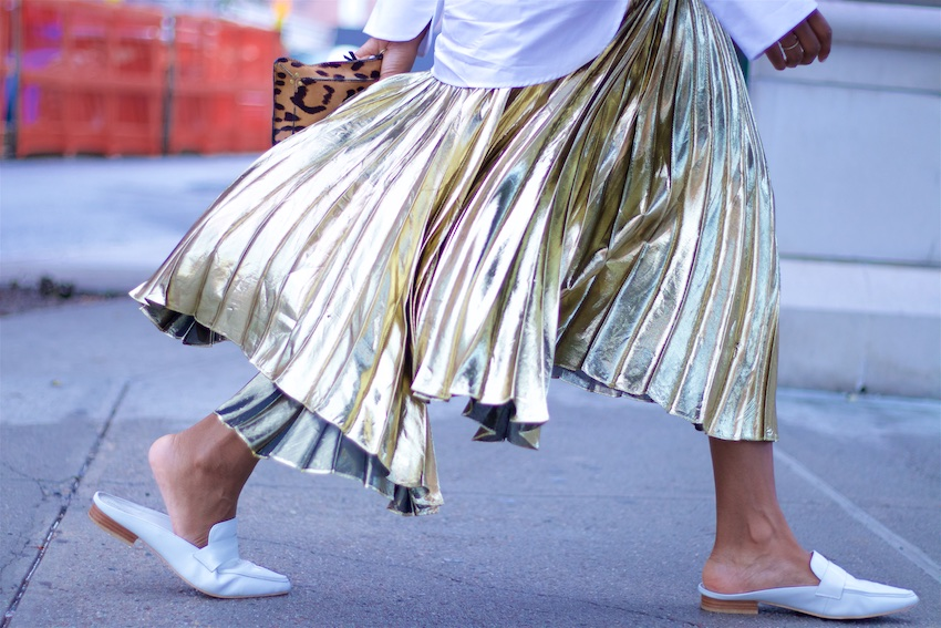 gold pleated skirts