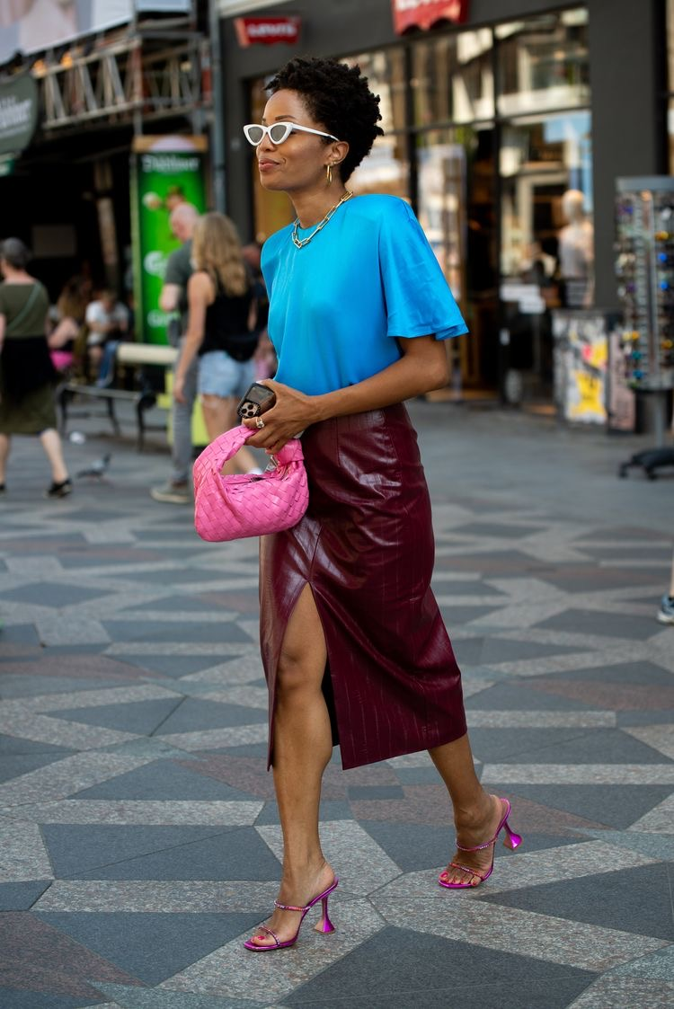 Burgundy and cyan color combo