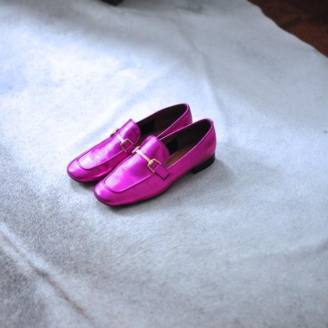 Topshop metallic karter loafers