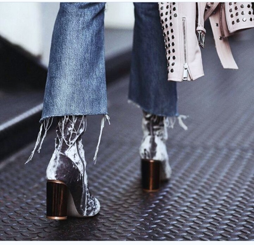 Velvet ankle boots and crop flared jeans