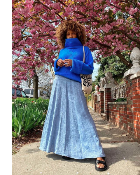 Spring 2021 Trends, Blue chunky knit