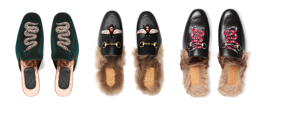 Gucci embroidered bee slippers