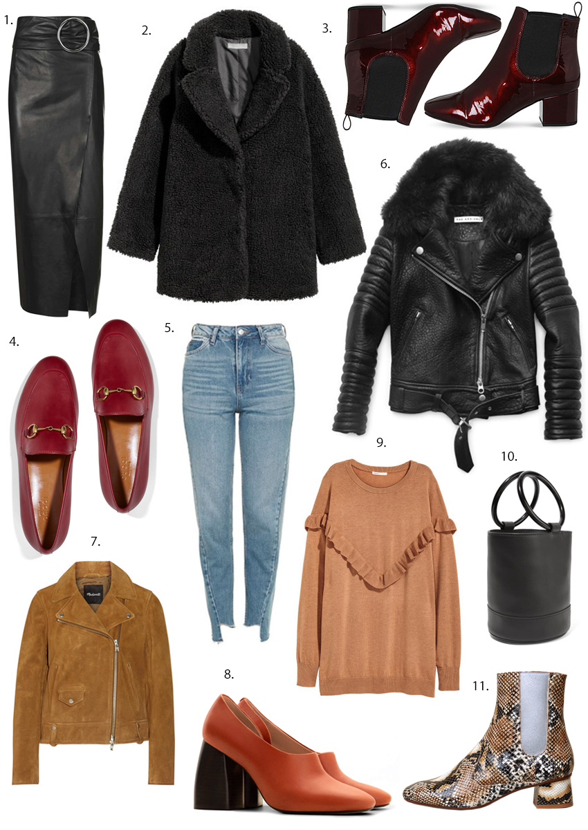 Madewell suede jacket, snake skin boots, block heel shoes, The Arrivals Rainer leather jacket, Gucci red loafers, leather skirt