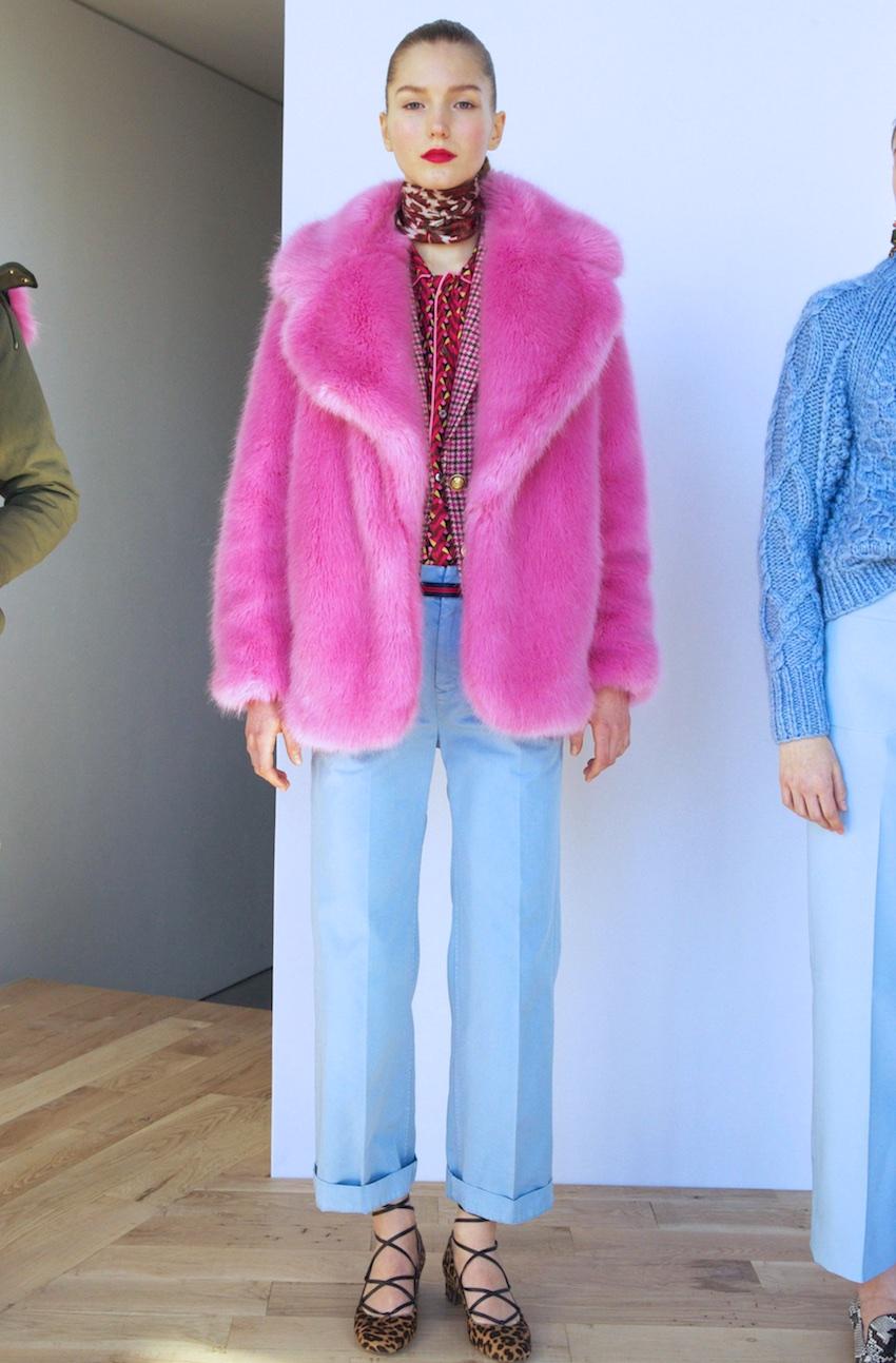 JCrew faux fur pink coat