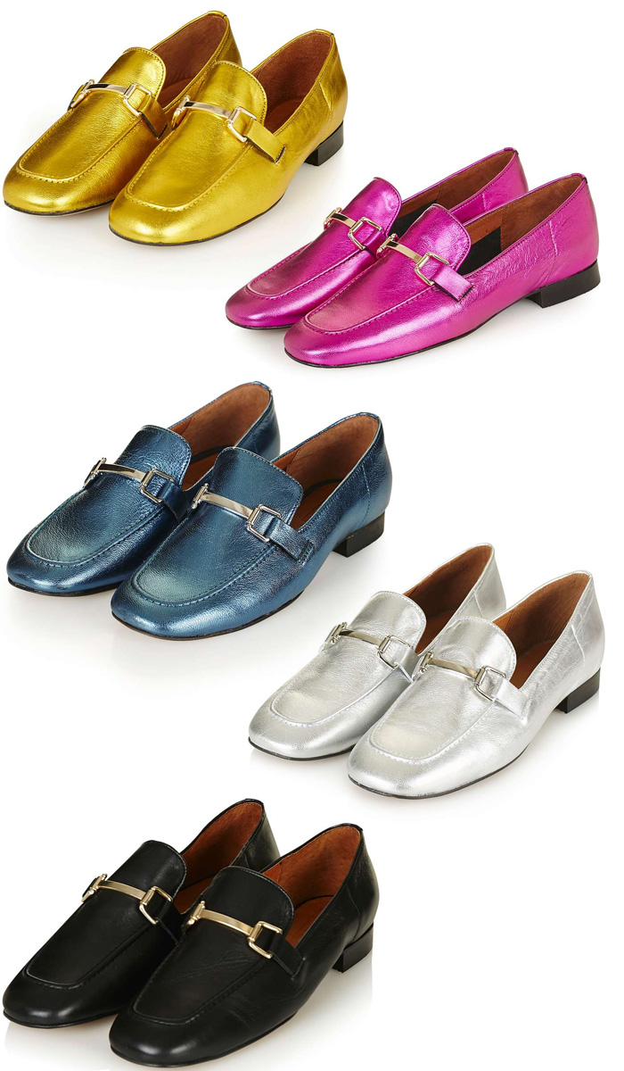 topshop karter metallic loafers