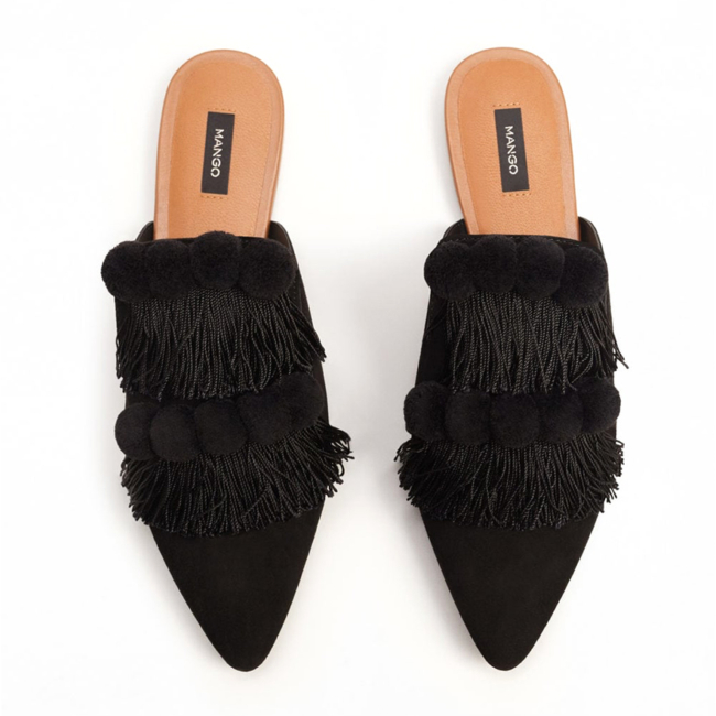mango backless fringed mules