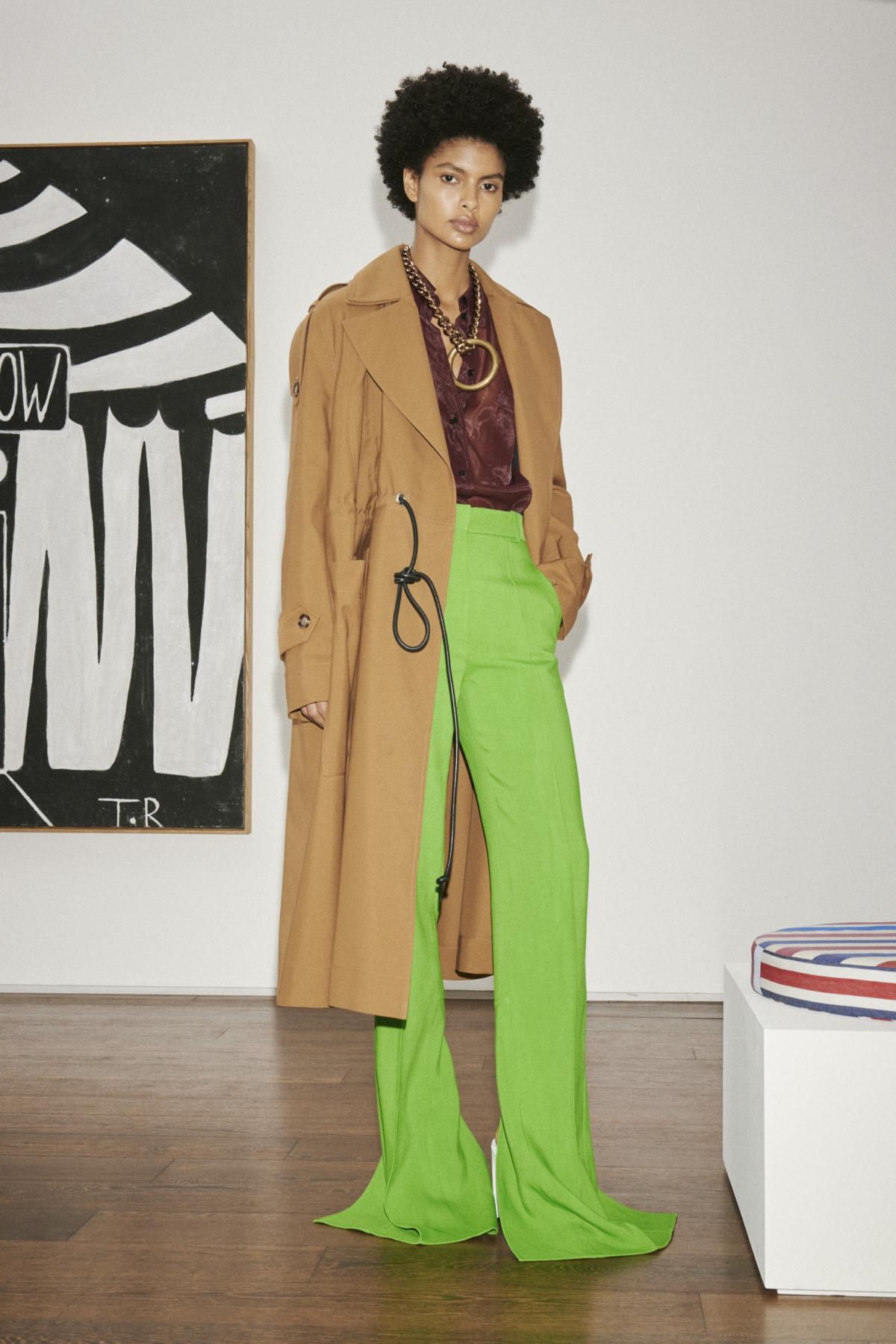 Green pants fashion show